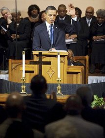 President Barack Obama speaking during a church service