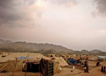 Displaced Yemenis from the Saada province at the Mazraq Internally Displaced People's camp