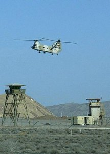 An Iranian military helicopter flies over a nuclear power plant in Natanz, in 2005