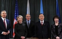 Left to right: The representatives of the Middle East Quartet, Tony Blair, Hillary Clinton, Sergei Lavrov, Ban Ki-moon, Catherine Ashton. (AFP/Yuri Kadobnov)