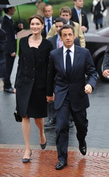 First Lady Carla Bruni and President Nicolas Sarkozy