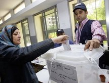 A Lebanese woman casts her vote in Beirut.