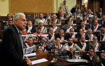 Egyptian Prime Minister Ahmed Nazif addresses the parliament in Cairo.