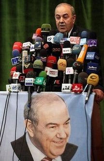 Former Iraqi premier Iyad Allawi speaks during a press conference in Baghdad on 8th June.