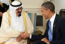 Saudi King Abdullah (left) shakes hands with US President Barack Obama.