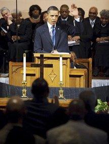 President Barack Obama speaking during a church service