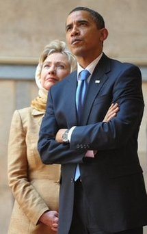 US President Barack Obama and US Secretary of State Hillary Clinton tour the Sultan Hassan Mosque in Cairo in June 2009 (AFP/File/Mandel Ngan)