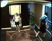 An image taken from hotel surveillance camera footage, released by Dubai police, allegedly shows two murder suspects following Mahmud Al-Mabhuh(AFP/Dubai Police)
