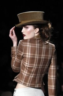 A model presents a creation by John Galliano