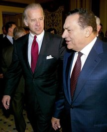 US Vice President Joe Biden and Egypt's President Hosni Mubarak