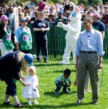 US President Barack Obama at the annual White House Easter Egg Roll.