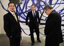 Nick Clegg (left), David Cameron (centre) and Gordon Brown.