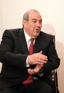 Iraq's general election winner and former premier Iyad Allawi during a meeting in Cairo