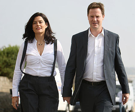 Liberal Democrat leader Nick Clegg with his wife