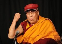 Tibetan spiritual leader the Dalai Lama speaks during a press conference after the first of his teaching sessions at Radio City Hall in New York.