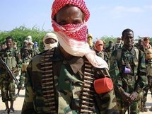 Islamist fighters stand during a military exercise in northern Mogadishu.