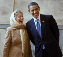 Obama and Clinton in Cairo 2009