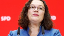 Andrea Nahles, leader of Germany's SPD, leaves a party in ruins