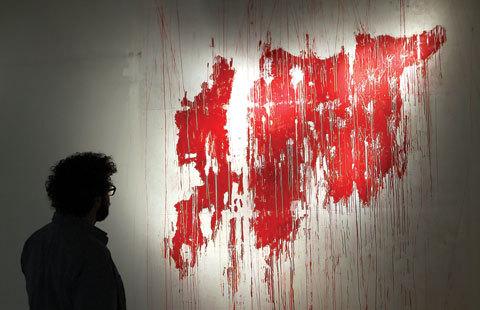 Dubai-based artist showcases 'bleeding Syria' map
