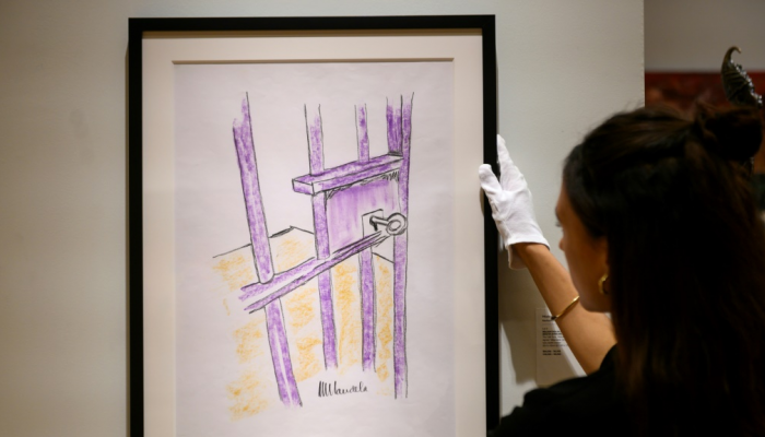 Nelson Mandela's cell door drawing sold for more than 100,000 dollars