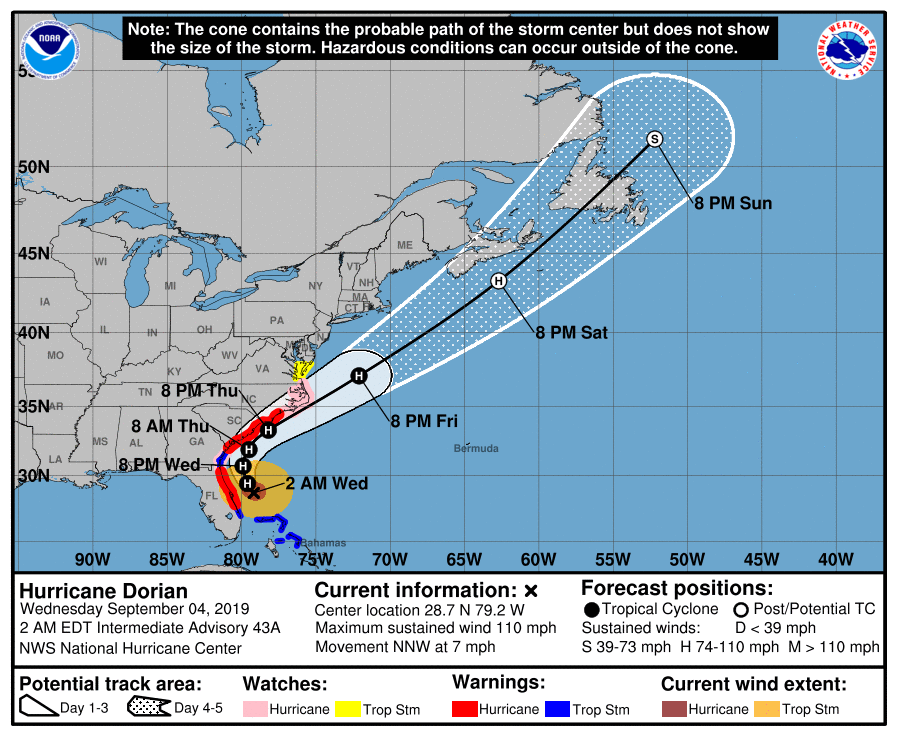 Dorian weakens but still destructive as it slowly turns to US coast