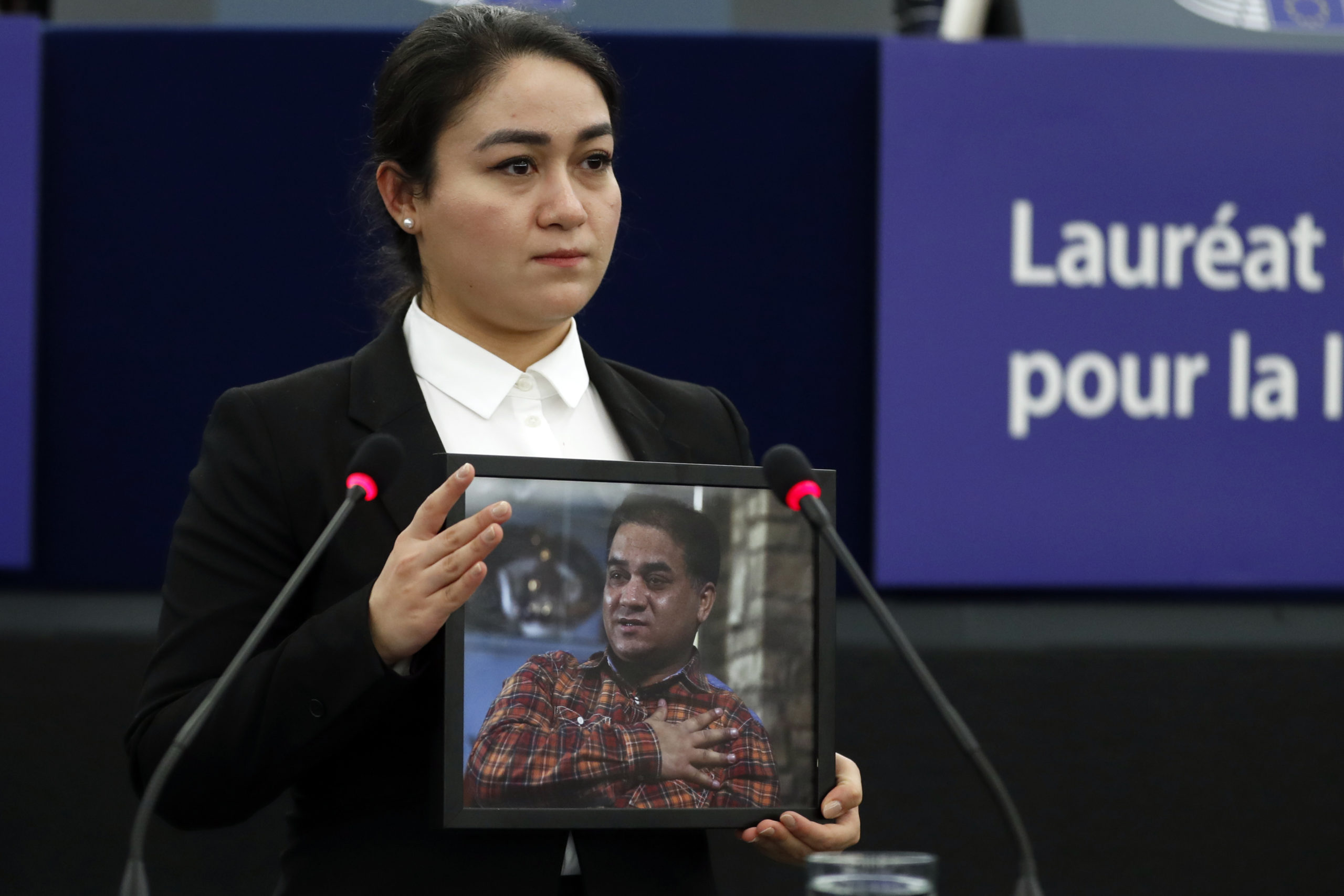 Daughter of jailed Uighur activist accepts EU prize in his name