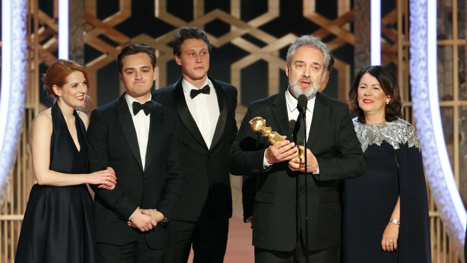 At Golden Globes, '1917' upsets Netflix for best picture