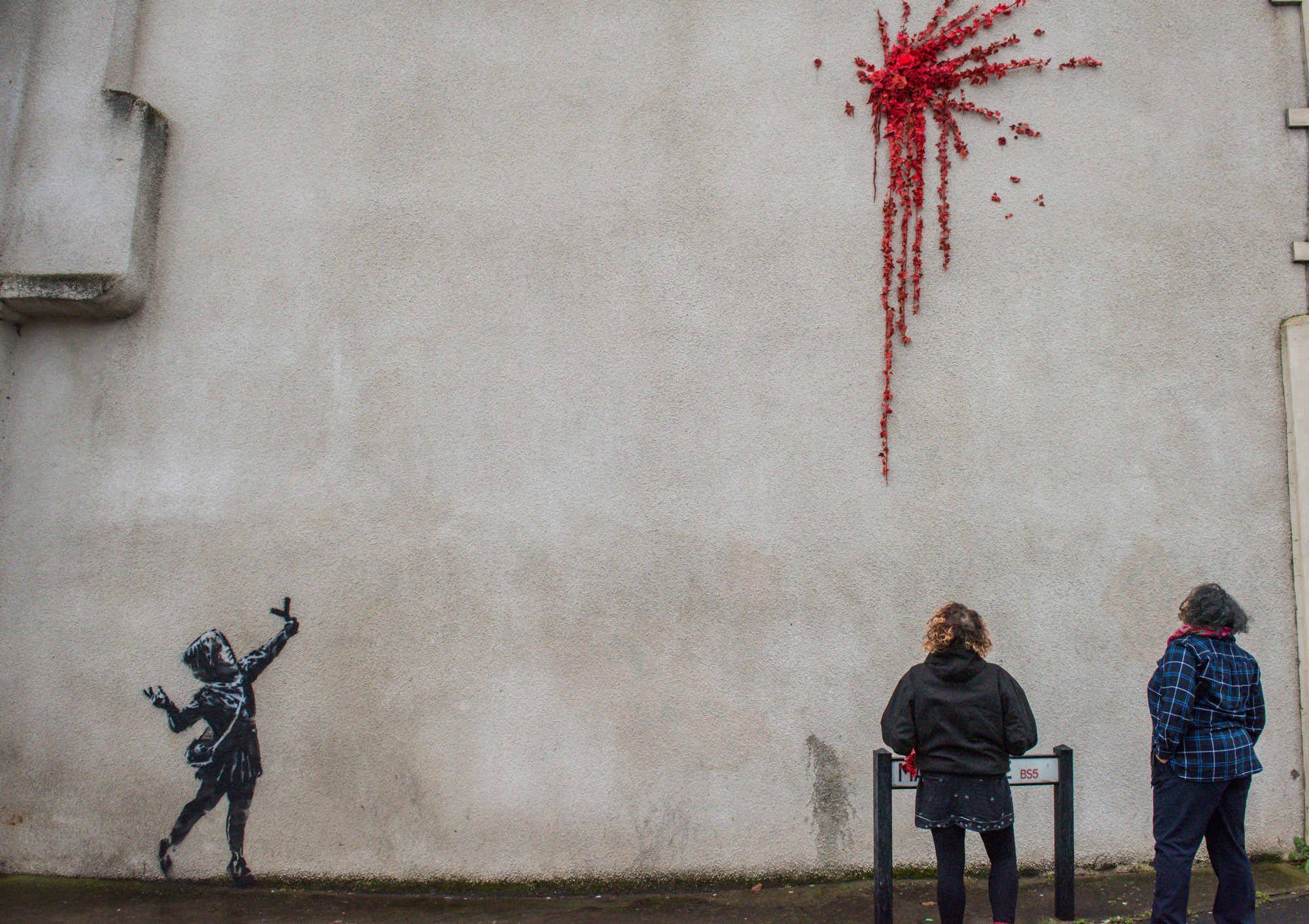In Bristol, Bansky creates catapulted roses mural for Valentine's Day