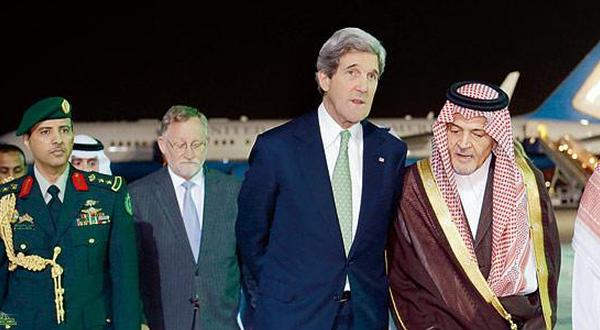 Kerry lands in Saudi to ease tensions over Syria, Iran