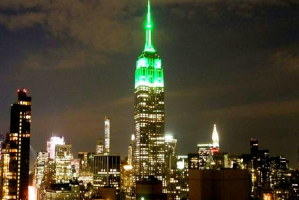 New York's Empire State Building lit green for Eid