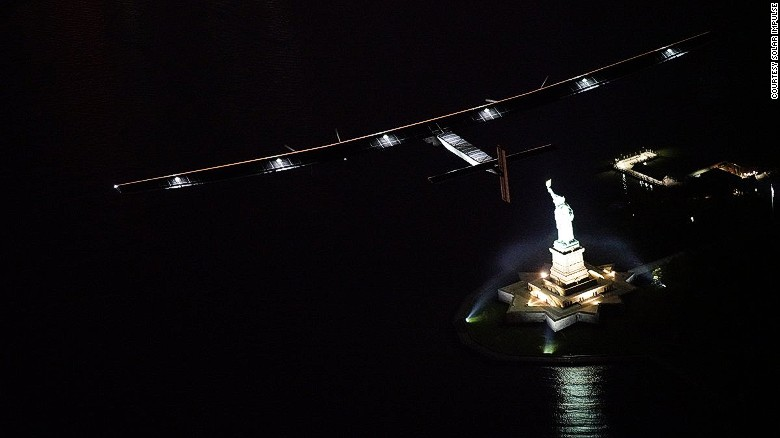 Sun-powered Solar Impulse 2 aircraft in New York after Statue of Liberty fly