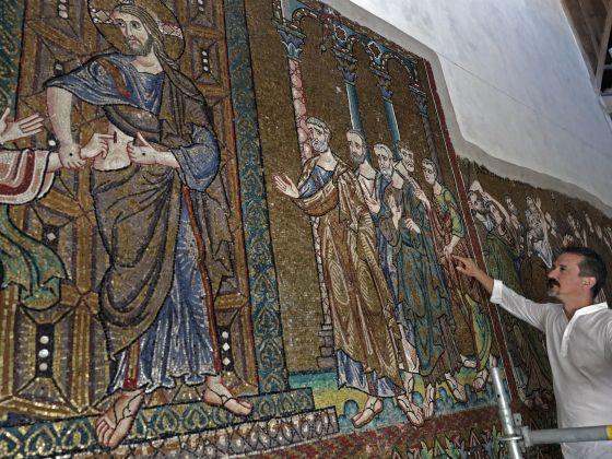 Hidden angel mosaic at Bethlehem shrine sees the light